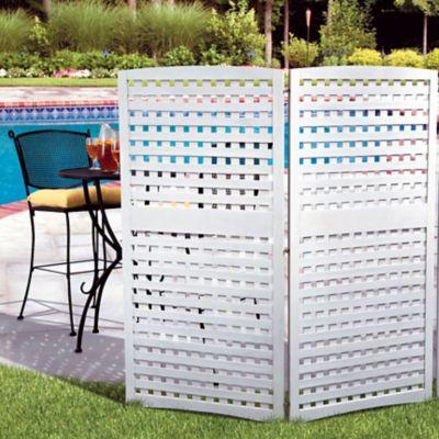 Whitewash 4-Panel Yard Privacy Screens