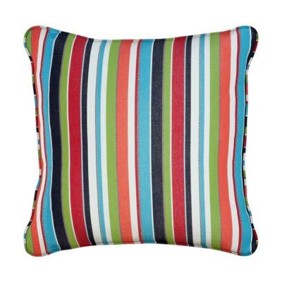 "Sunbrella Throw Pillow 17""x17""x6"" - Carousel Confetti Stripe"