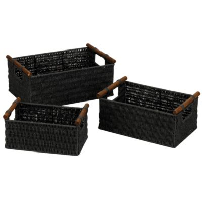 Paper Rope Baskets with Wood Handles-Set of 3