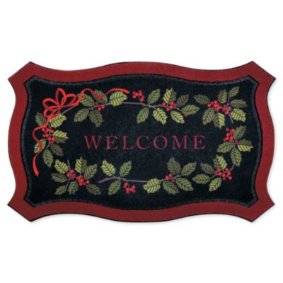Holly Branch Welcome Christmas Doormat
