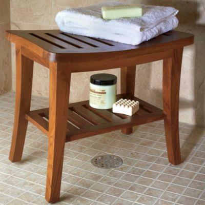 Curved Teak Shower Bench