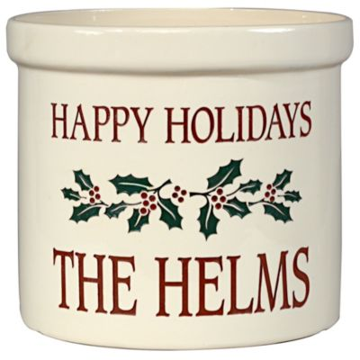 Personalized Holiday Holly Leaf Crock
