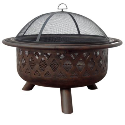 "32"" Wood Burning Fire Bowl with Lattice Design"