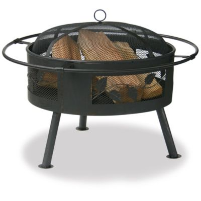"22"" Round Fire Bowl with Leaf Design"