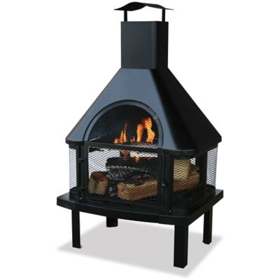 Black Firehouse Outdoor Fireplace with Chimney