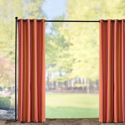 Sunbrella Outdoor Curtain Panel-Dolce Mango Stripe