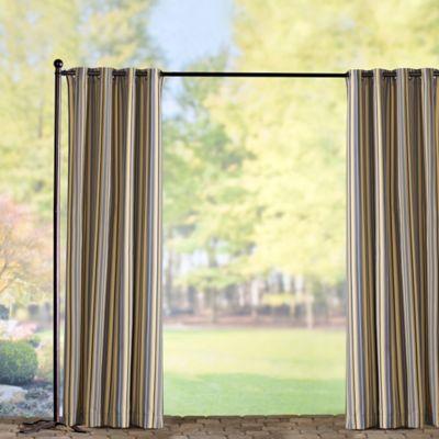 Sunbrella Outdoor Curtain Panel-Foster Metallic Stripe