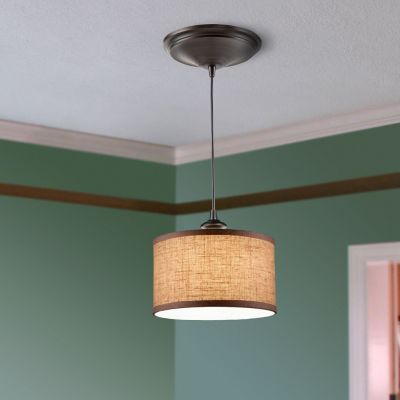 Linen Drum Shade Instant Pendant Light