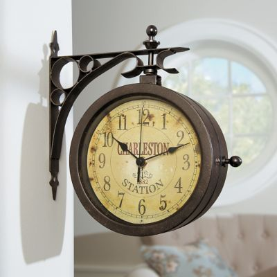 Charleston Station Two-Sided Thermometer Wall Clock