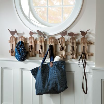 Birds on a Picket Fence Coat Rack