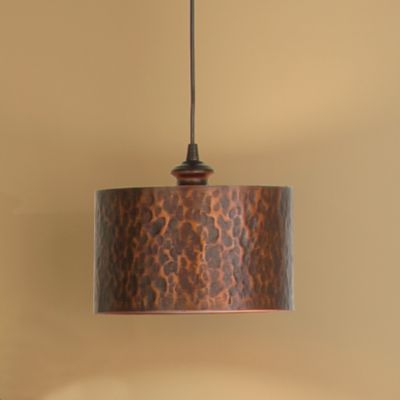 Hammered Copper Finish Drum Shade Instant Pendant Light
