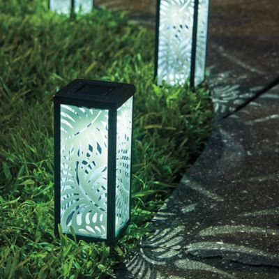 Frosted Palm Leaf Solar Lantern
