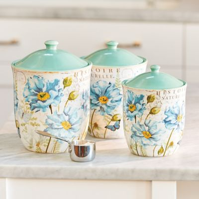 Blue Poppy Script Canisters-Set of 3