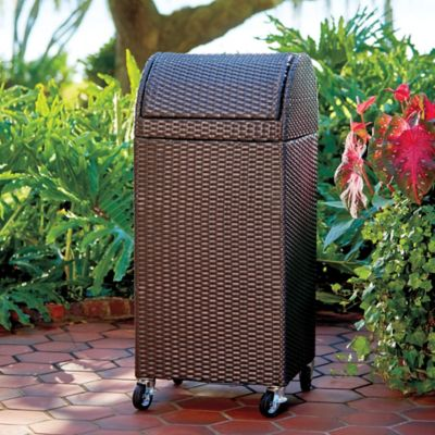 Resin Wicker Outdoor Trash Can/Hamper