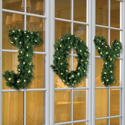Pre-Lit JOY Greenery Christmas Decor
