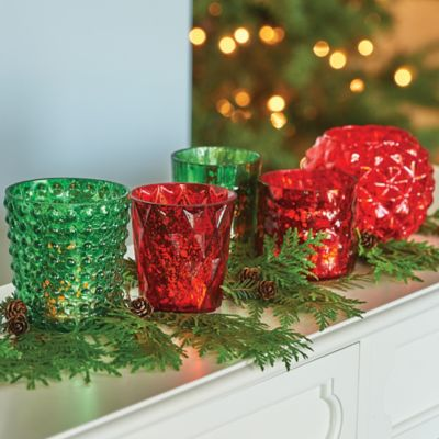 Mercury Glass Votive Holder-Red/Green
