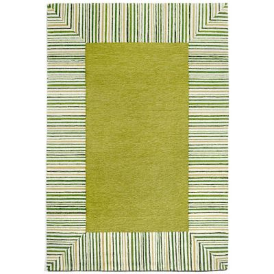 Pin Stripe Border Outdoor Rug