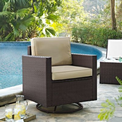Palm Harbor Resin Wicker Swivel Chair with Cushions