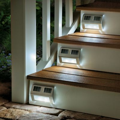 Solar Powered Metal Deck Lights-Set of 4