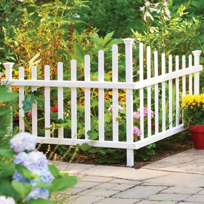 No-Dig Vinyl 2-Piece Corner Picket Fence
