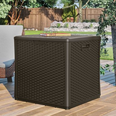 60 Gallon Resin Woven Cube Deck Box