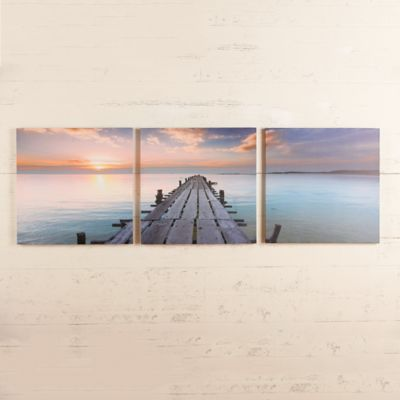Pier at Sunrise Triptych Canvas Print