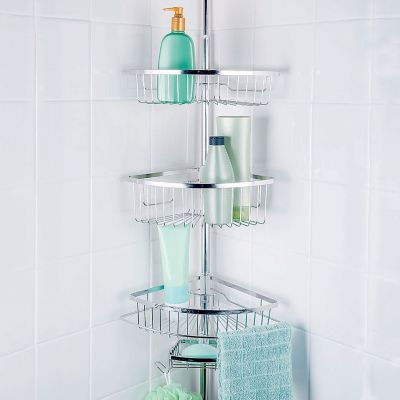 Stainless Steel Tension Pole Shower Organizer