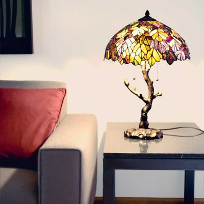 Stained Glass Maple Tree Table Lamp
