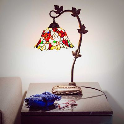 Stained Glass Floral Leaf Desk Lamp