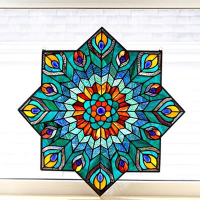 Peacock Star Tiffany Style Stained Glass Window Panel