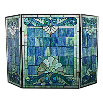 Swirling Shells Tiffany Style Stained Glass Fireplace Screen