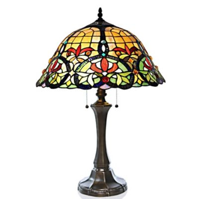 Stained Glass Edwardian Hearts Tiffany Style Table Lamp