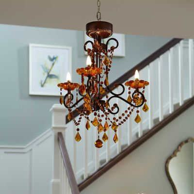3 Arm Battery Operated Chandelier with Remote