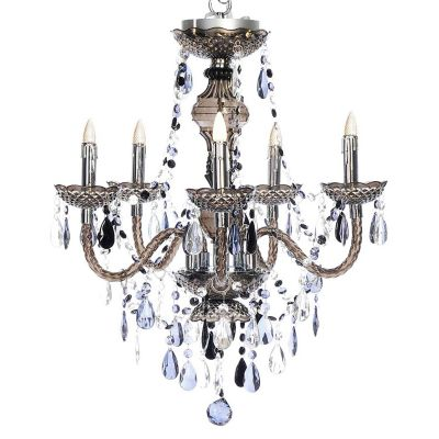 Smoky Grey 5 Arm Battery Operated Chandelier with