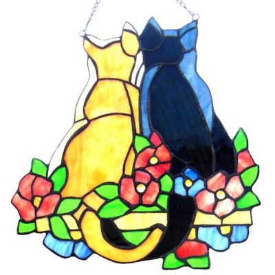 Cuddling Cats Stained Glass Window Panel
