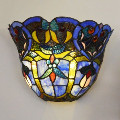 Webbed Heart Wireless Stained Glass LED Wall Sconce