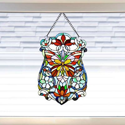 Stained Glass Butterfly Fleurs Window Panel