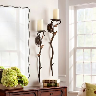Birds & Branches Candle Sconces-Set of 2