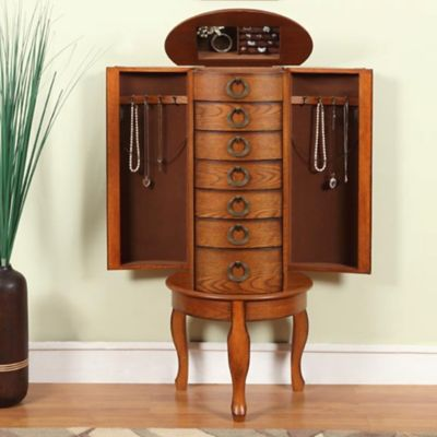 Burnished Oak Jewelry Armoire