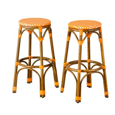"Marseille Resin Wicker Round Bar Stools-30""H-Set of 2"