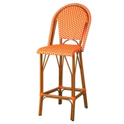 "Marseille Resin Wicker Round High Back Bar Stool-45""H"