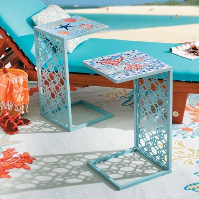 Caspian Metal Tile Tray Tables-Set of 2
