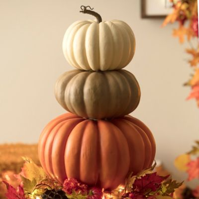 Stacked Faux Pumpkins Fall Decor