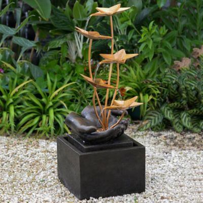 Cascading Metal Flowers Outdoor Fountain