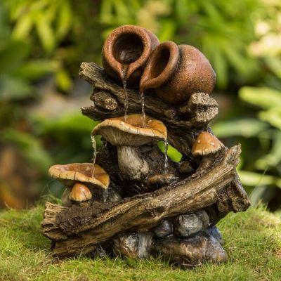 Mushrooms & Pots on Wood Stump Outdoor Fountain