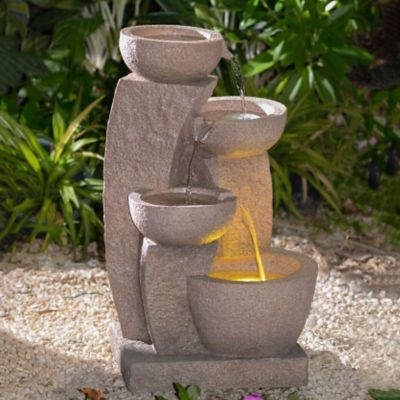 Jagged Columns Multi-Tier Bowls Lighted Outdoor Fountain