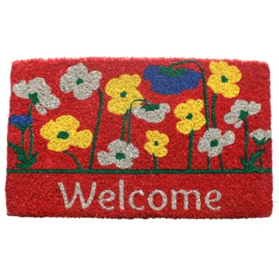 "Poppies Welcome Coir Door Mat-18"" x 30"""