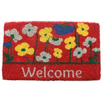 """Poppies Welcome Coir Door Mat-18"""" x 30"""""""