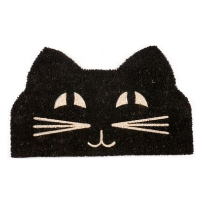 "Cat Face Coir Door Mat-18"" x 30"""