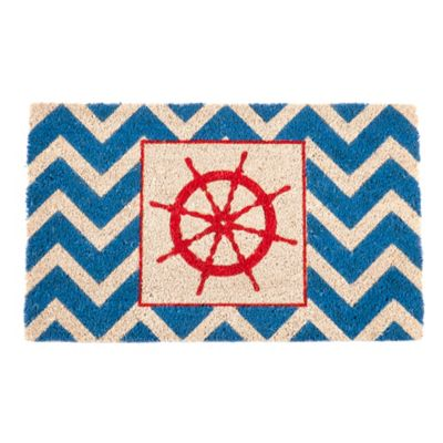 "Ship's Wheel Coir Door Mat-17"" x 28"""